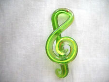 FUN GLASS G CLEF MUSIC SYMBOL IN LIME GREEN & BRONZE SHIMMER PENDANT NECKLACE