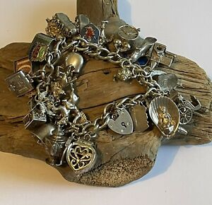 Vintage Sterling Silver Charm Bracelet & Charms Opening Articulated 102 Grams