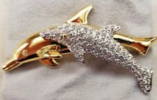 Swarovski Crystal Dolphin Mother & Child Brooch Vintage Two Dolphin Pin Retired