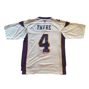 Brett Favre #4 Minnesota Vikings Reebok Mens Large White Purple NFL Jersey Retro