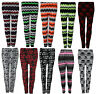 Ladies Womens Winter Knitted Aztec Nordic MultiColor Fairisle Pattern Leggings