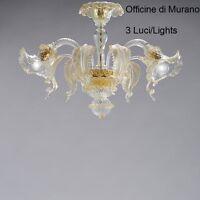 Plafoniera in Vetro di Murano Certificato -1005/PL3 Cristallo Oro-Mont. Oro 24k