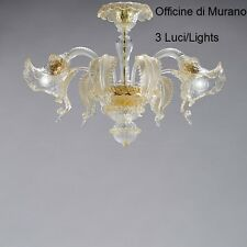 Ceiling glass Murano Certified -1005/PL3 Crystal Gold-Mont. gold 24k