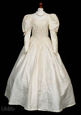 VINTAGE wedding dress Laura Ashley 1990 S SETA AVORIO enorme Treno 12 Vittoriano R600