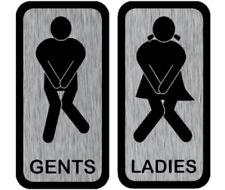 Toilet Fun Desperate Bathroom GENTS LADIES Pub BAR Man CAVE Chrome Metal UK Sign