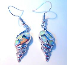 **UK**NEW**STUNNING WHITE FIRE OPAL SHELL 925 SILVER EARRINGS   20 X 10 mm
