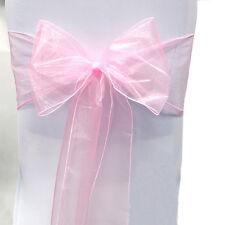 25/50/100PCS Organza Chair Cover Sash Bow Wedding Party Reception Banquet Decor