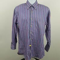 Peter Millar Blue Pink Brown Striped Men's L/S Casual Button Shirt Sz Medium M