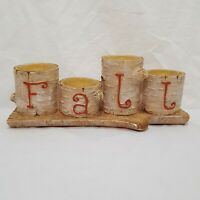 "Birch Tree Log Fall Tea Light Candle Holder 3"" Beige Resin Cabin Yankee Candle"