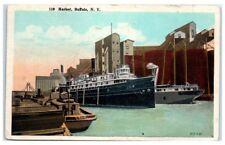 1938 Ships in Buffalo Harbor, NY Postcard