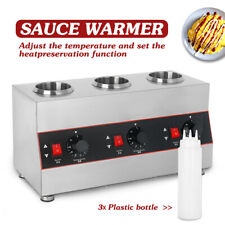 More details for commercial electric hot chocolate jam sauce warmer 3 bottles bain marie ce in uk