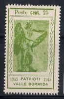 Valle Bormida 1945 Sass. 11 Nuovo ** 100% Perseo, Vittoria, 25 cent