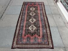 Vintage Worn Traditional Hand Made Oriental Faded Blue Pink Wool Rug 205x104cm