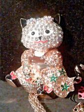 Betsey Johnson Crystal & Enamel Cat Necklace/ Brooch-Free Gift Box-