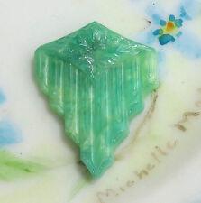 #483B Vintage Cabochon Retro Art Deco Fan Floral Pressed Jade Green RARE NOS