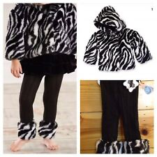 Mud Pie Wild Child Collection Zebra Print Faux Fur Coat & Leggings, 9-12 Months