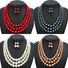 New Women Pearl Pendant Chain Chunky Choker Bib Statement Necklace Earrings Set