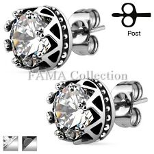 Unique FAMA Crown Casting with Round CZ Stud 316L Surgical Steel Earrings