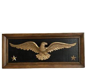 "Eagle Wall Hanging Gold Metal Stars 22.5"" Wood Frame Patriotic Military Vtg"