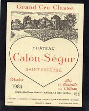 SAINT ESTEPHE 3EME GCC ETIQUETTE CHATEAU CALON SEGUR 1984  §0/02/18§