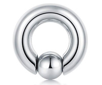 8g Stainless Steel Captive Bead Ring With Snap Fit Ball Replacement Ear Lip Body