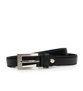 Dress full grain belt on black vegan leather with a square frame buckle sleek