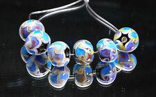 6 PCS Handmade Lampwork Glass Beads set Charm Bracelet Rondelle Murano (Blue)