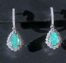 18K GOLD 6.23 CT. GIA CERTIFIED BLUE GREEN PARAIBA TOURMALINE DIAMOND EARRINGS!!