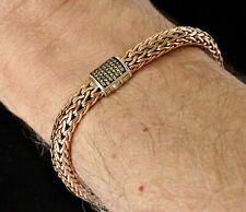 John Hardy Mens Chain Bracelet Champagne Diamond Bronze Sterling Silver New Sale