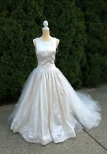 Beautiful Jim HJELM Couture Wedding Dress Satin And Tulle Ivory Sz 10 Great