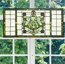 Vintage Victorian Theme Tiffany Style Stained Glass Window Panel -26inLx13.75inH