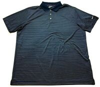 Nike Golf Mens Blue Striped Short Sleeve Polo Shirt Size 2XL
