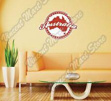 "Australia Country Map Grunge Vintage Wall Sticker Room Interior Decor 24""X22"""