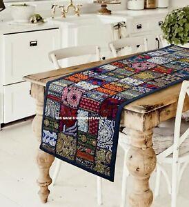 Exquis Indien Brodé Chemin de Table ou Mural Suspendu Coton Long Colorés