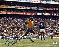 Pele Signed 11x14 Soccer Photo World Cup Goal - Autographed PSA/DNA COA