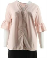 AnyBody Loungwear Cozy Knit French Terry Cardigan Delicate Pink L NEW A302490