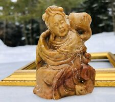 Vintage Chinese Figure Hand Carved Miniature Soapstone