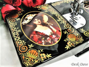 Rare Singer Featherweight 221 Sewing Machine, Victorian RED LADY Portraits.