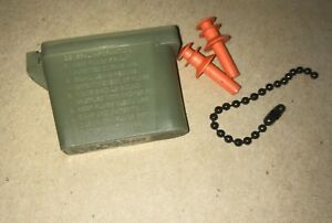 US ARMY MILITARY EAR PLUGS WITH CHAIN AND CASE SIZE MEDIUM ORANGE