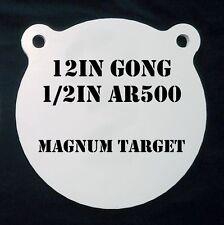 """12""""  AR500 Gong Shooting Target - 1/2 Thk Rifle Target - 1pc. Steel Target Set"""