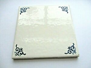"""US Ceramic USA Delft Blue 4-1/4"""" Sq Cream Gloss Dimpled 1 Wall Tile Vintage 1993"""