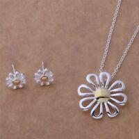 Daisy Pendant Necklace and Earrings Set 925 Sterling Silver NEW