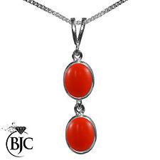 Collares y colgantes de joyería con gemas de coral de plata de ley
