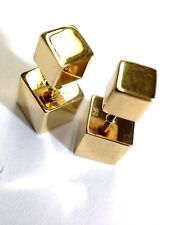Unique! Solid 14K Yellow Gold Front Back Telephone 3-D Square Cube Earring Studs
