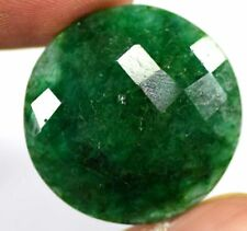 26mm (39cts) ROUND-FACET CHECKER-CUT CERTIFIED NATURAL (EGL) COLOMBIAN EMERALD