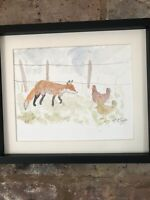Fox And Chickens Watercolour Original Signed Art, Vintage, Cottage, Gift