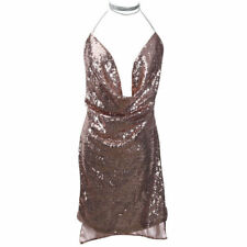 Sexy Womens Deep V Neck Backless Sequin Dress Party Evening Short Mini Dresses