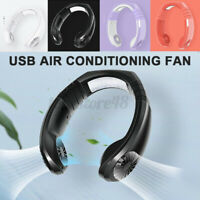 2in1 Portable Neckband Dual Cooling Mini Fan Lazy Neck Hanging USB