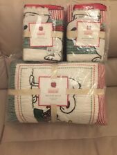 Pottery Barn Kids Peanuts Snoopy Full Queen Holiday Quilt Std Shams Christmas