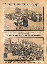 Mitrailleuse Armée de Belgique Remorque de Chiens/East Prussia Ruins WWI 1914